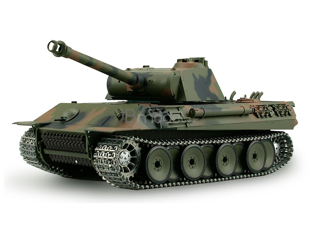 RC tank Panther 1:16 - airsoft, dym, zvuk, kov. prevodovka, kov. pásy, QC, drevená bedňa