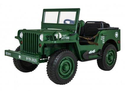 Elektrické autíčko Retro Military 4x45W zelená