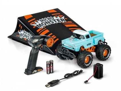RC auto Micro Monster so skokanským mostíkom RTR 1:22