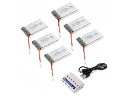 Set 6ks batérii 3.7v 1200mAh + nabíjačka (Syma X5SW) - VÝDRŽ AŽ 14-15 MINÚT LETU