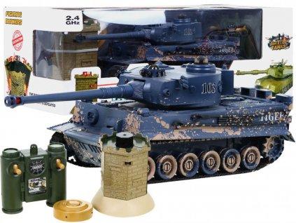 RC tank Tiger kamufláž 1:28 2.4 GHZ infra + interaktívny bunker