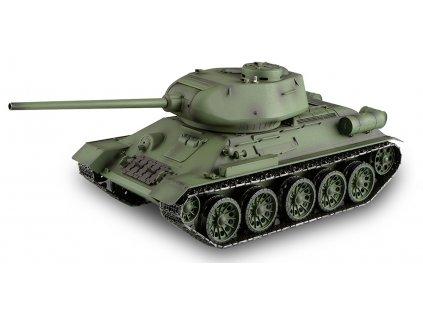 RC tank T-34/85 1:16 - airsoft, dym, zvuk, kov. pásy, kov. prevodovka, QC, drevená bedňa