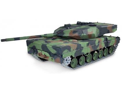 RC tank Leopard 2A6 1:16 - airsoft, dym, zvuk, kov. prevodovka, kov. pásy, QC, drevená bedňa
