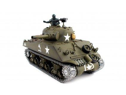 RC tank U.S. M4A3 Sherman 1:16 - airsoft, dym, zvuk, kov. pásy, kov. prevodovka, QC, drevená bedňa