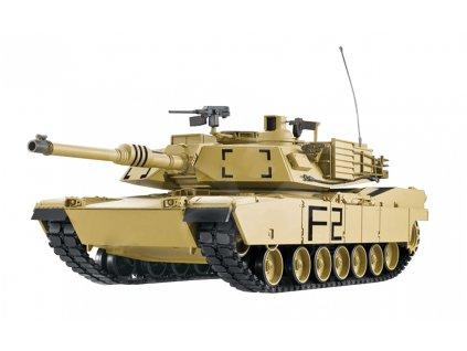 RC tank U.S. M1A2 ABRAMS 1:16 - airsoft, dym, zvuk, kov. prevodovka, QC, drevená bedňa