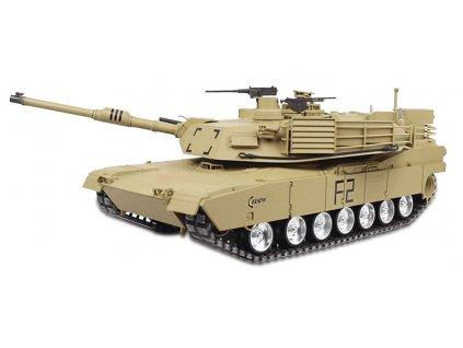 RC tank U.S. M1A2 ABRAMS 1:16 - airsoft, dym, zvuk, kov. pásy, kov. prevodovka, QC, drevená bedňa