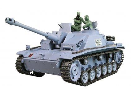 RC tank Sturmgeschütz III 1:16 - airsoft, dym, zvuk, QC, drevená bedňa
