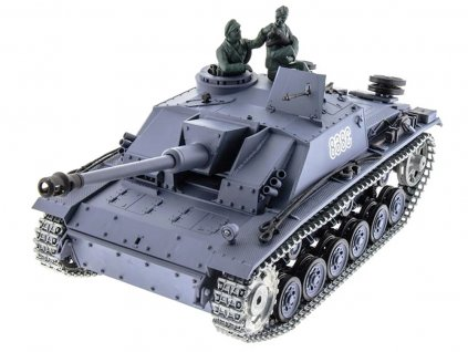 RC tank Sturmgeschütz III 1:16 - airsoft, dym, zvuk, kov. pásy, kov. prevodovka, QC, drevená bedňa