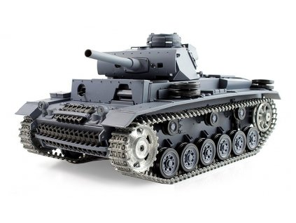 RC tank Panzer III 1:16 - airsoft, dym, zvuk, kov. pásy, kov. prevodovka, QC, drevená bedňa