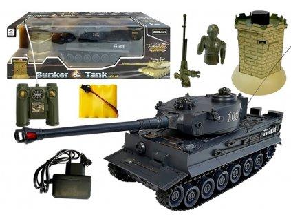 RC tank Tiger 1:28 2.4 GHZ infra + interaktívny bunker