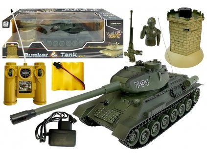 RC tank T-34 1:28 2.4 GHZ infra + interaktívny bunker