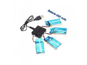 Set 4ks batérii 3.7v 650mAh + nabíjačka na batérie (Syma X5, X5SW, X5SC)