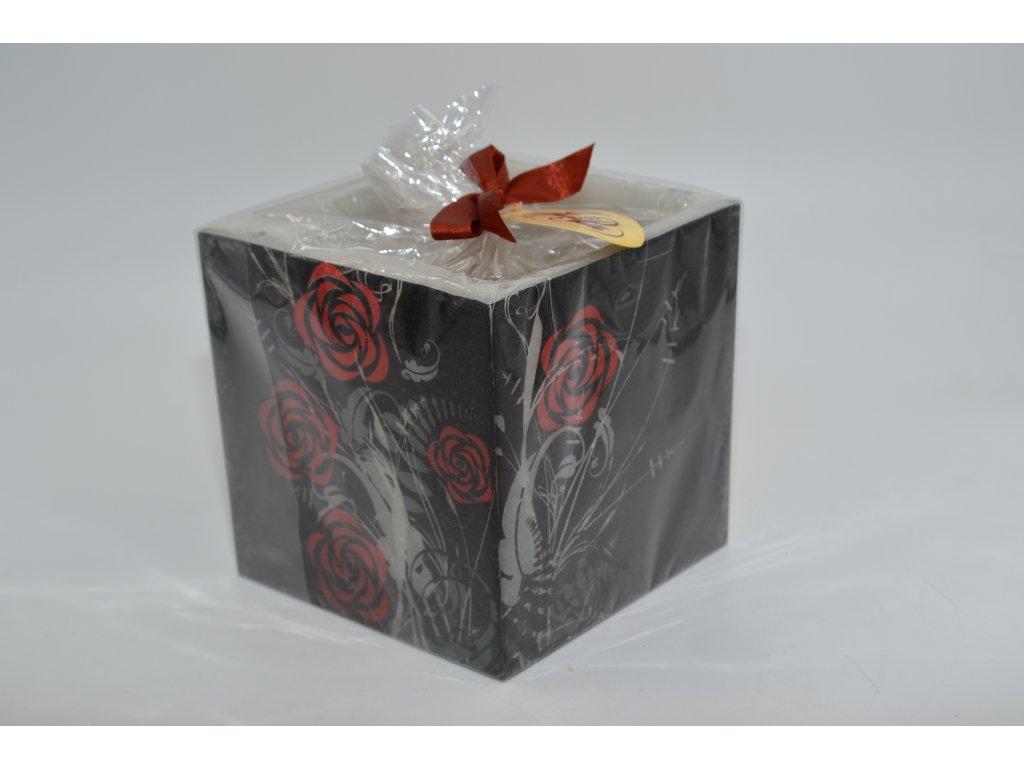 voskový svícen | ornamenty černé