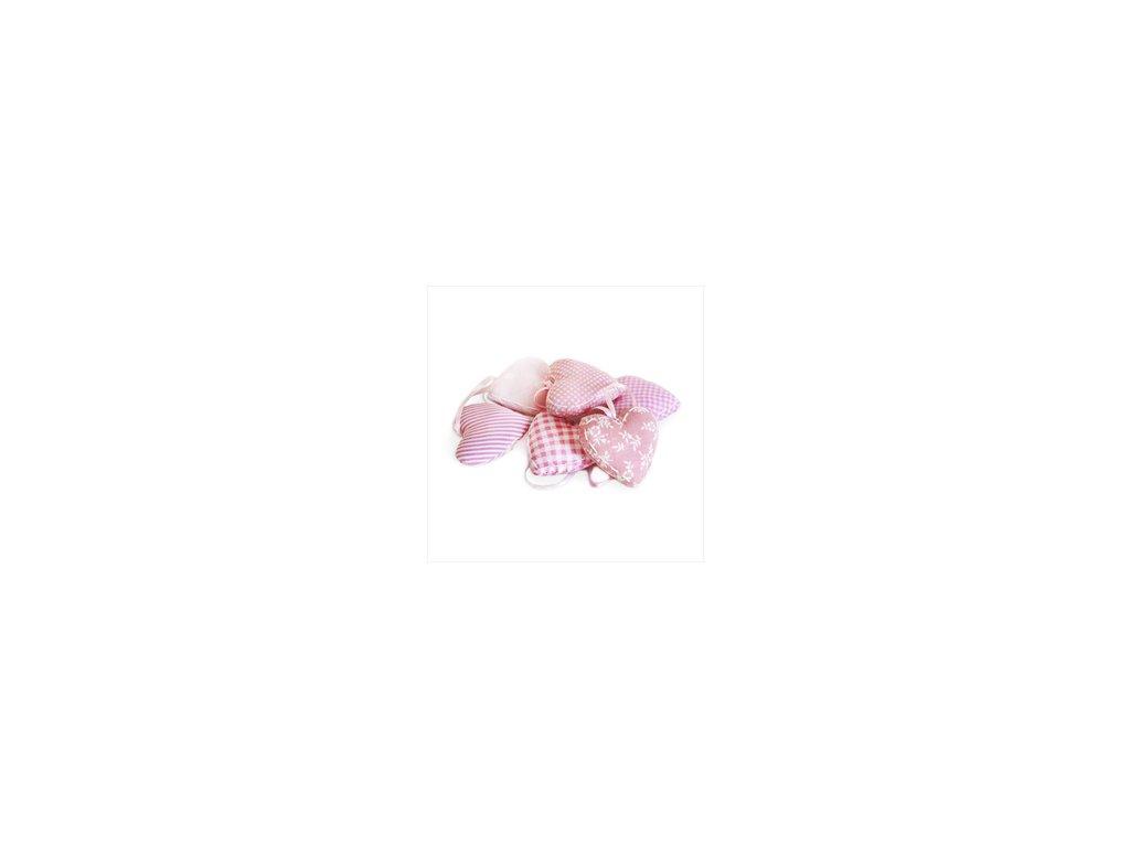 látkové srdce | růžové kárované