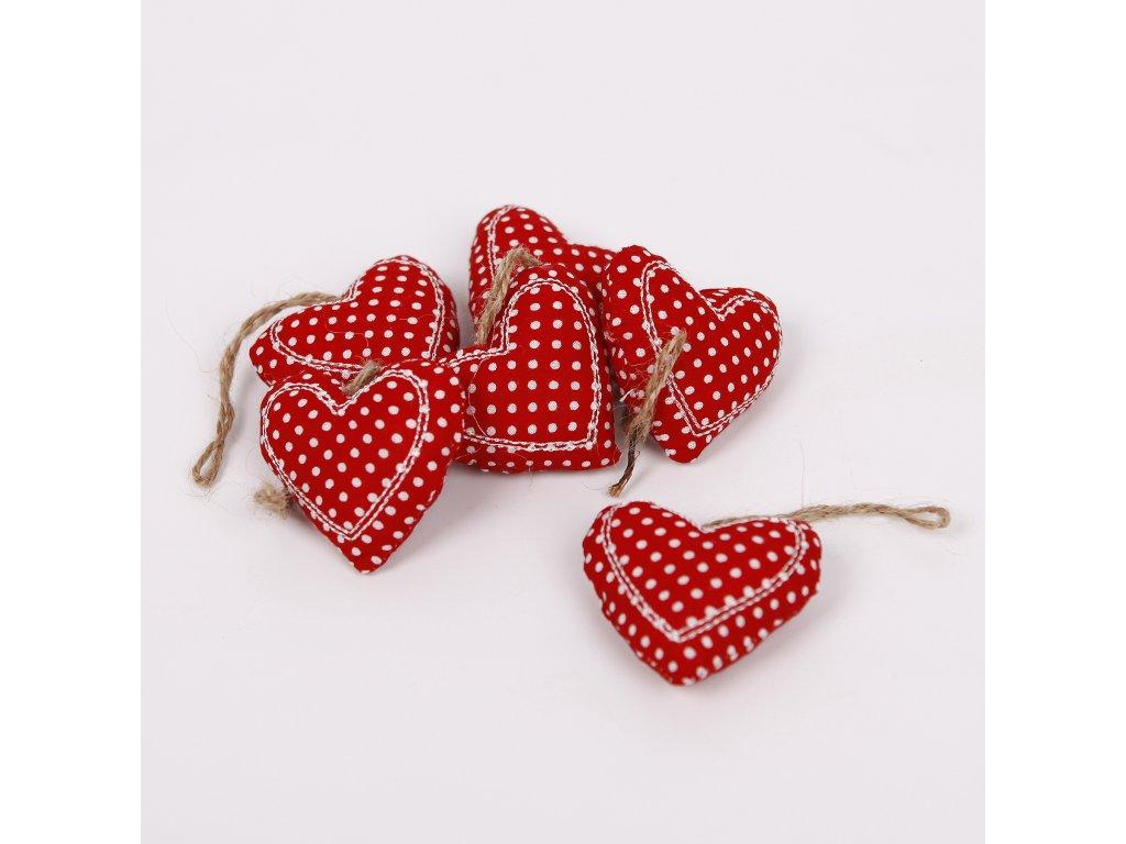 hbi 86038r srdce zaves textil 6ks 6cm cervena