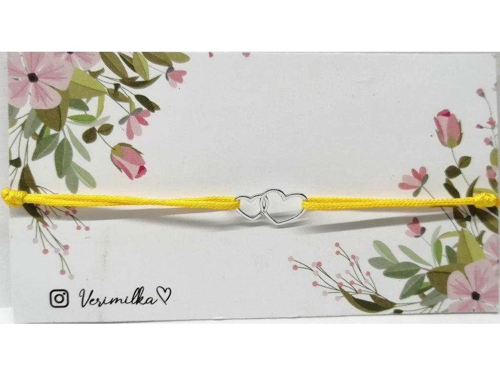 bavlněný náramek s přívěskem ze stříbra | DVĚ SRDCE žlutá