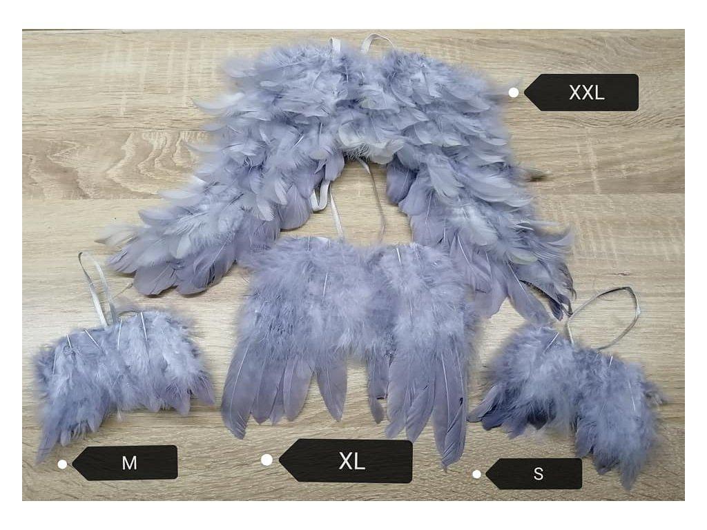 andělská křídla S 8 cm | šedá