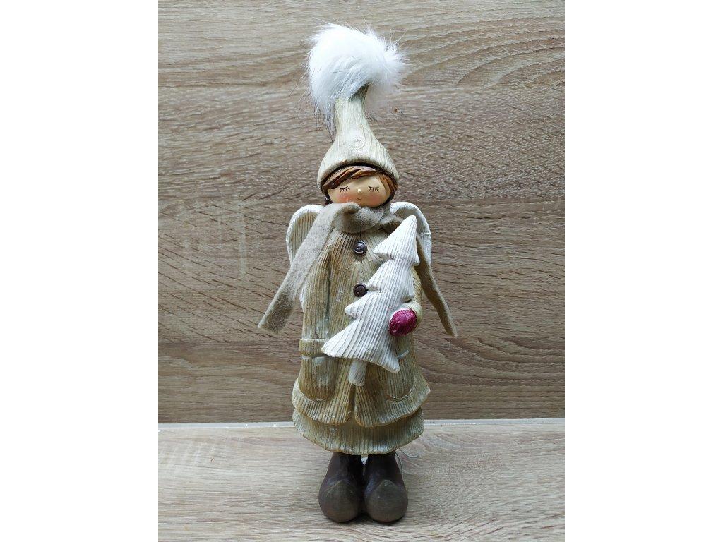 Andělka s copem držící stromek | 27 cm HNĚDÁ