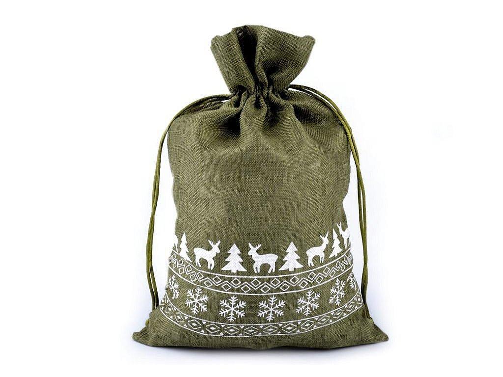 Pytel zelený s vánočním motivem
