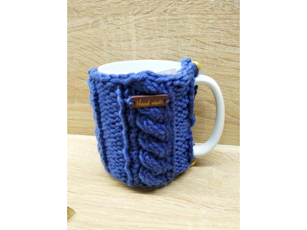 porcelánový hrnek ve svetříku 450 ml   modrá