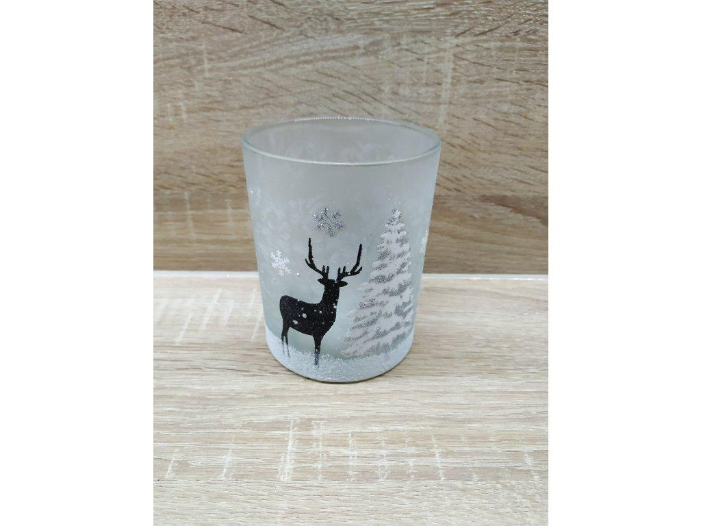 Svícen s jelenem | stříbrný 12,5 cm