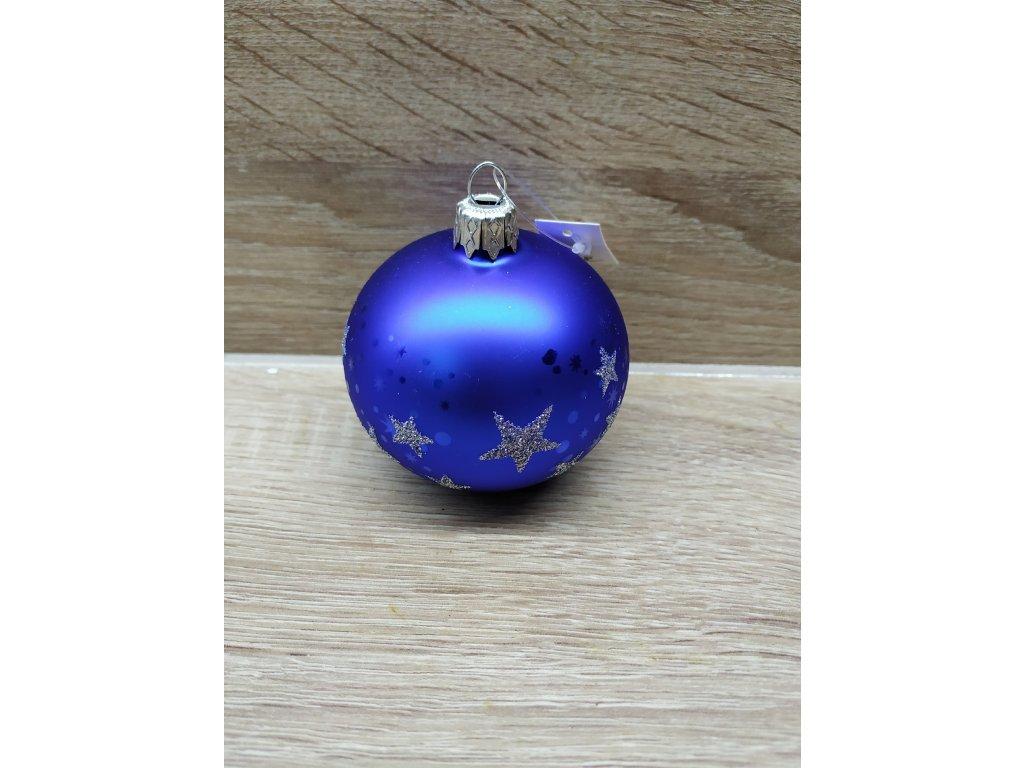 Baňka s hvězdami 7 cm | modrá lesk