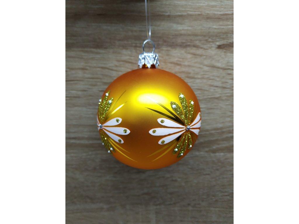 Baňka s ornamenty 7 cm | zlatá