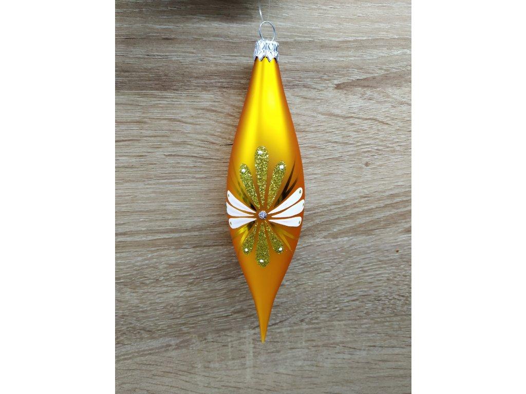 Špice s ornamenty 7 cm | zlatá