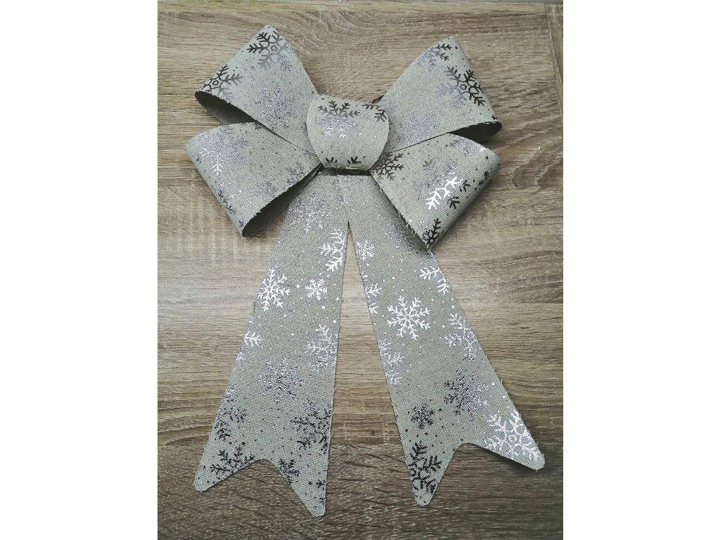 Mašle se stříbrnými vločkami | 30 cm