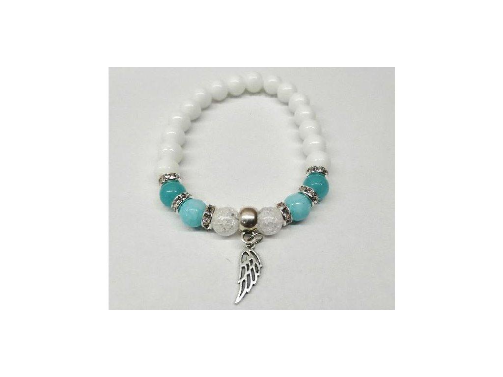 minerální náramek | perlovka modrá