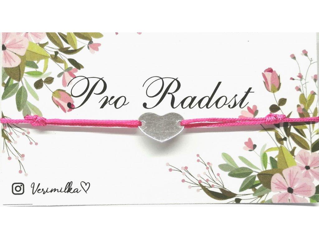 bavlněný náramek s přívěskem z pozlaceného stříbra | PLNÉ SRDCE růžová