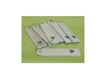 dřevená cedulka SRDCE | bílá