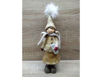 Andělka s dvěma culíky držící dárek   27 cm HNĚDÁ