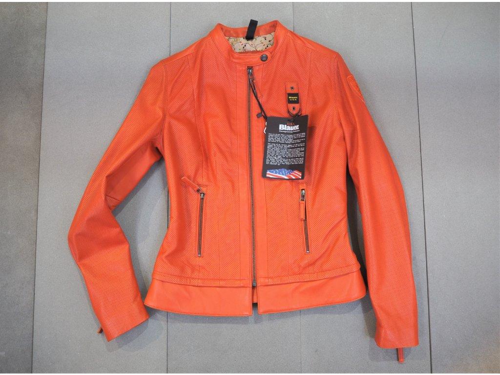 Blauer dámská kožená bunda