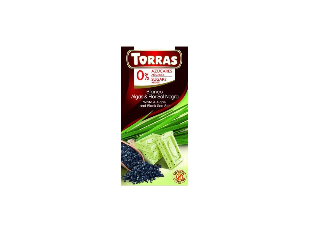 TORRAS Biela čokoláda čierna morská soľ a riasy