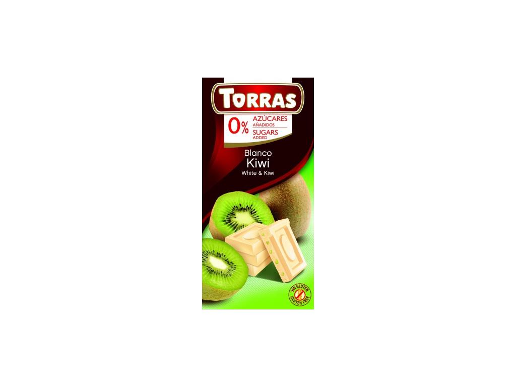 TORRAS Biela čokoláda - kiwi  bez cukru 75 g  (ES)