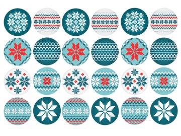 Sugar sheets - 24 x Vánoční kolečka 5 (průměr 4,5 cm)