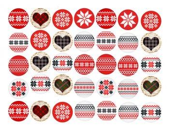 Sugar sheets - 35 x Vánoční kolečka 4 (průměr 3,5 cm)