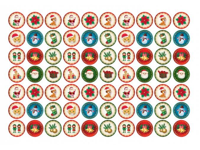 Sugar sheets - 70 x Vánoční kolečka 1 (průměr 2,5 cm)