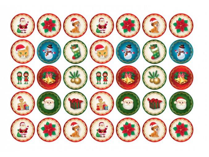 Sugar sheets - 35 x Vánoční kolečka 1 (průměr 3,5 cm)