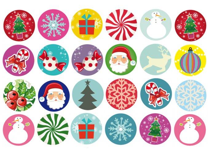 Sugar sheets - 24 x Vánoční kolečka 2 (průměr 4,5 cm)