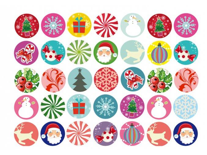 Sugar sheets - 35 x Vánoční kolečka 2 (průměr 3,5 cm)