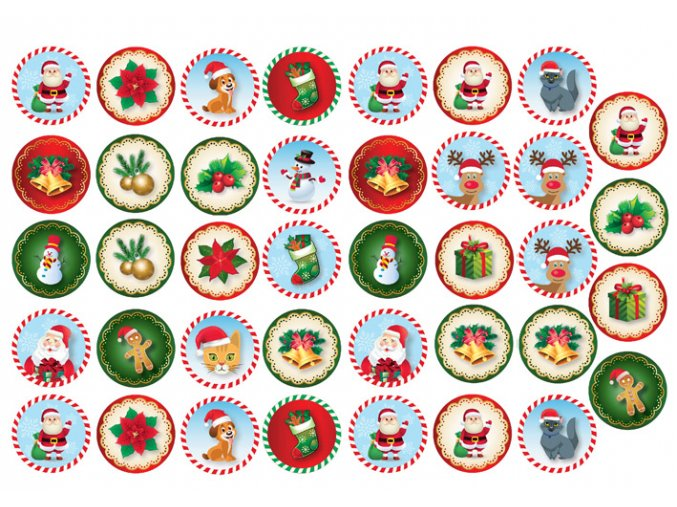 Sugar sheets - 39 x Vánoční kolečka 9 (průměr 3,5 cm)