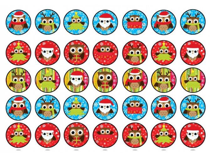 Sugar sheets - 35 x Vánoční kolečka 10 (průměr 3,5 cm)
