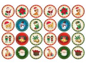 Sugar sheets - 24 x Vánoční kolečka 1 (průměr 4,5 cm)