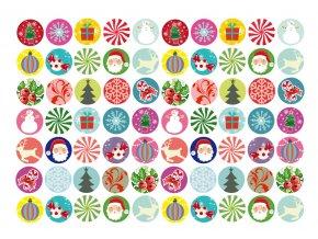 Sugar sheets - 70 x Vánoční kolečka 2 (průměr 2,5 cm)
