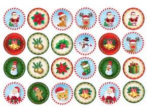 Sugar sheets - 24 x Vánoční kolečka 9 (průměr 4,5 cm)