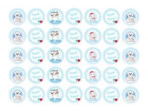 Sugar sheets - 35 x Vánoční kolečka 3 (průměr 3,5 cm)