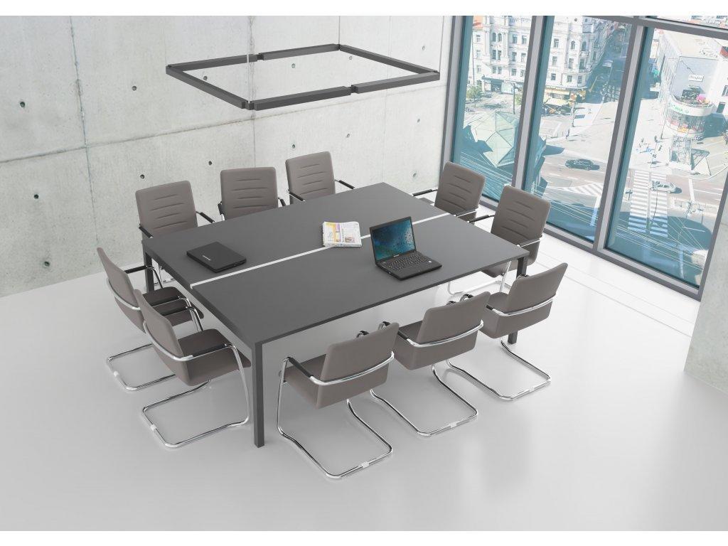 Stůl jednací GATE-Q 1630x2200 cm, 10 osob, dekor UNI
