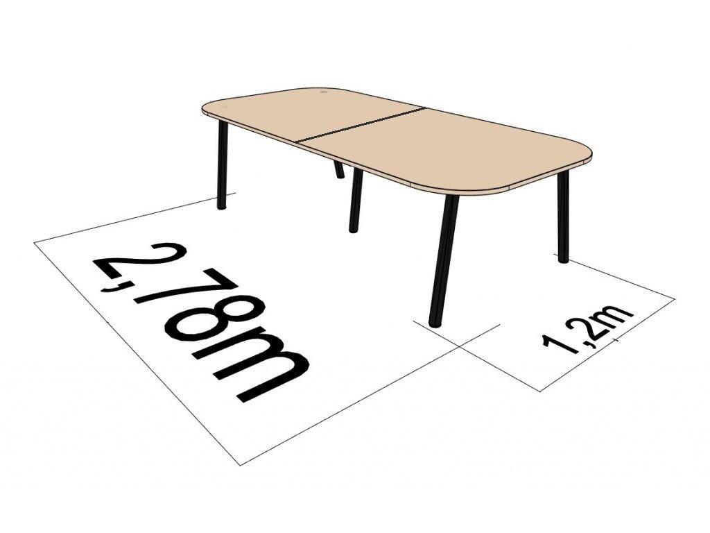 Stůl jednací ATELIER 1200x2780 cm, 8 osob, Dřevodekor